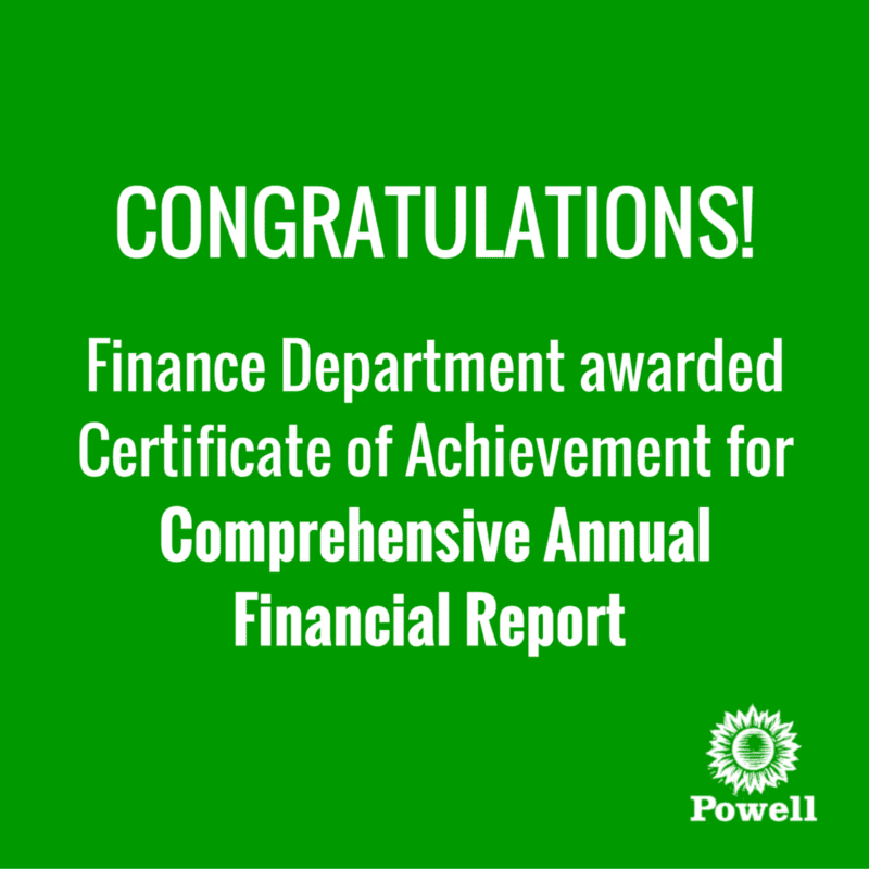 Finance Department: Finance Department Awarded Certificate Of Achievement